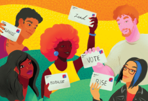 "A postcard illustrating a multiracial group of people holding postcards saying ""Vote"", ""Mobilize"", ""Lead""."