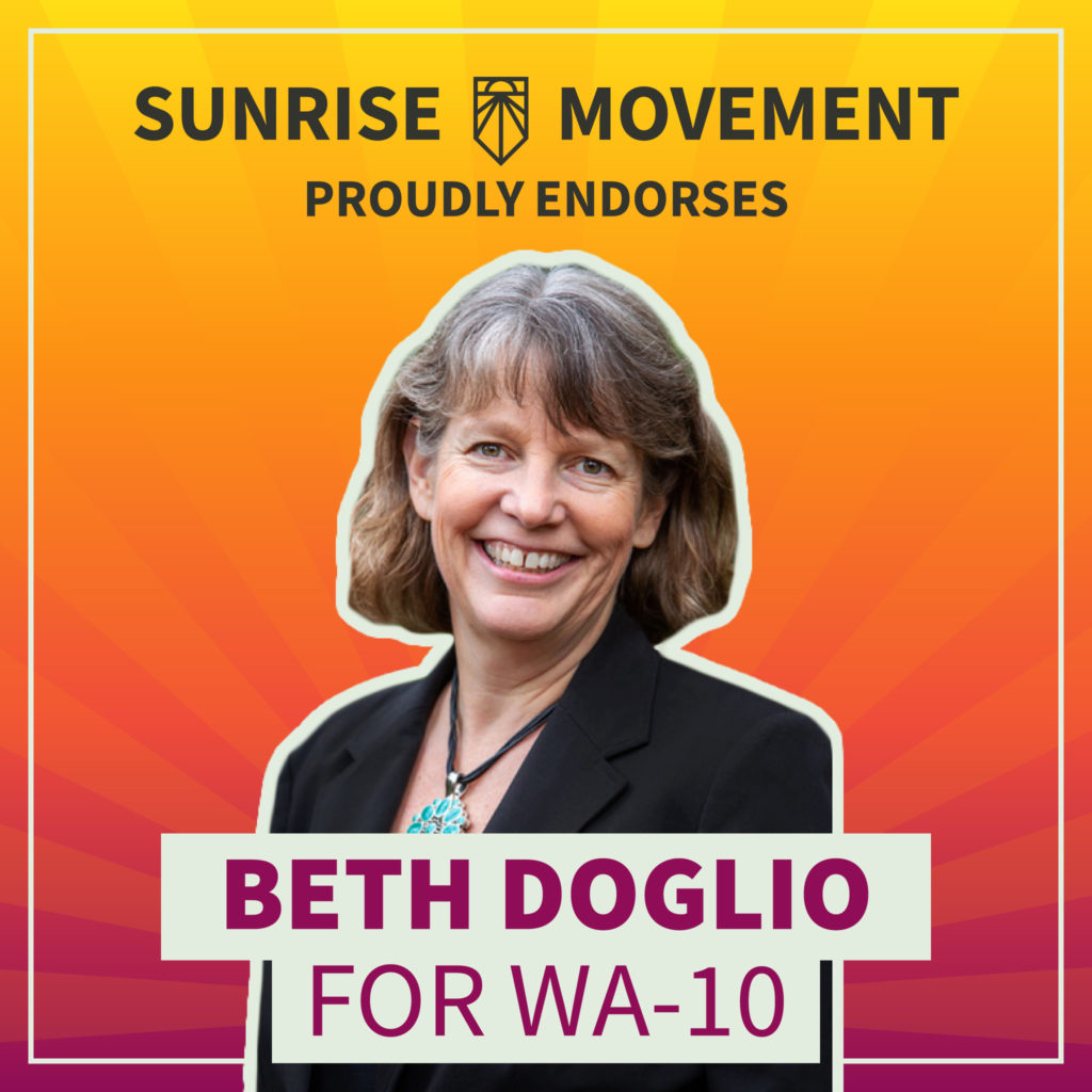 A photo of Beth Doglio with text: Sunrise Movement proudly endorses Beth Doglio for WA-10.