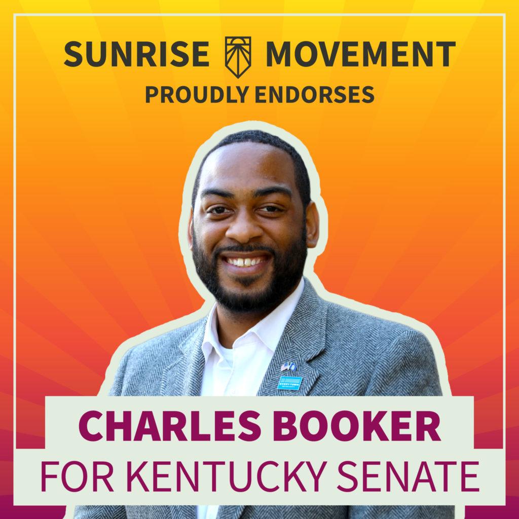 Una foto de Charles Booker con texto: Sunrise Movement respalda con orgullo a Charles Booker para el Senado de Kentucky
