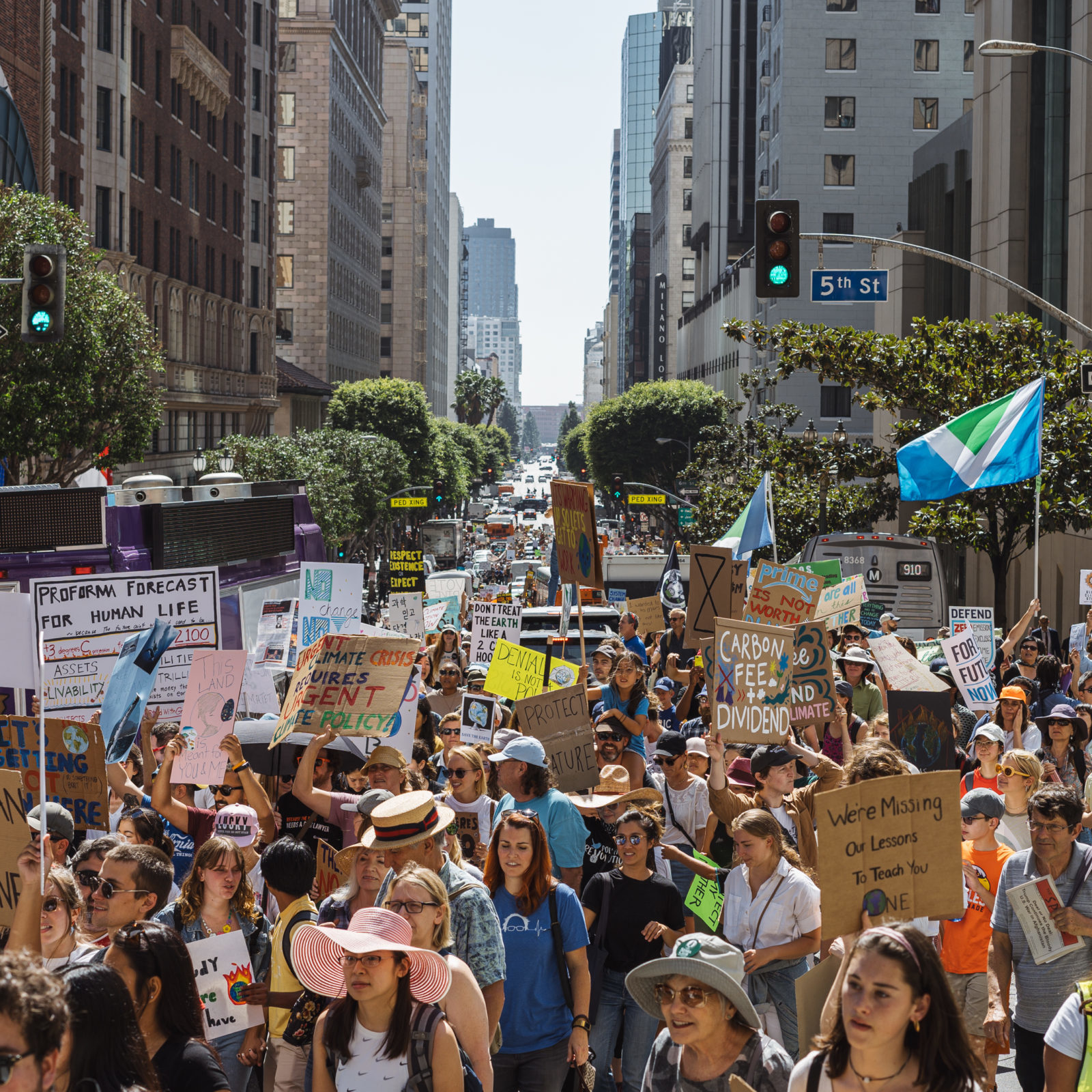 A large crowd of people filling the street during the September 2019 Climate Strike.