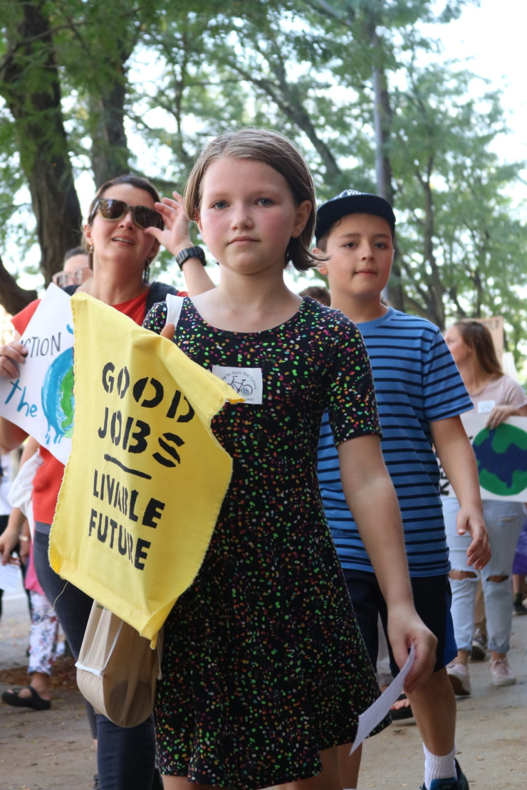 "A young activist holds a sign saying ""Good jobs, livable future"" during the September 2019 Climate Strike."