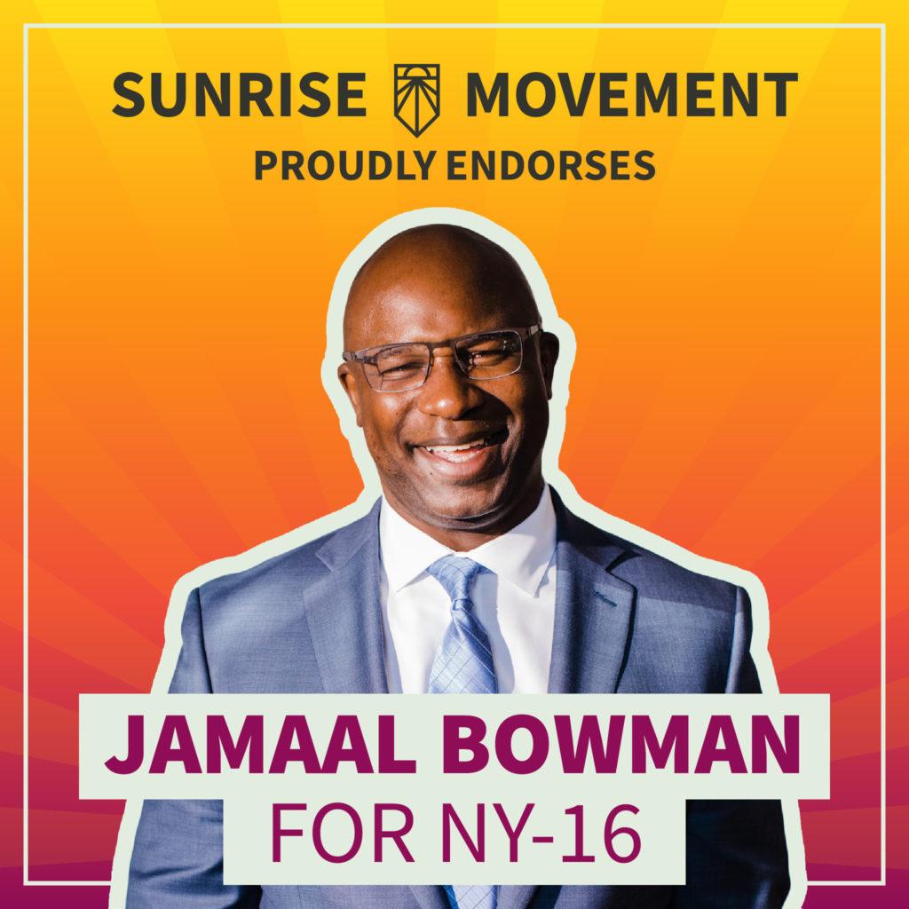 Una foto de Jamaal Bowman con texto: Sunrise Movement respalda con orgullo a Jamaal Bowman para NY-16