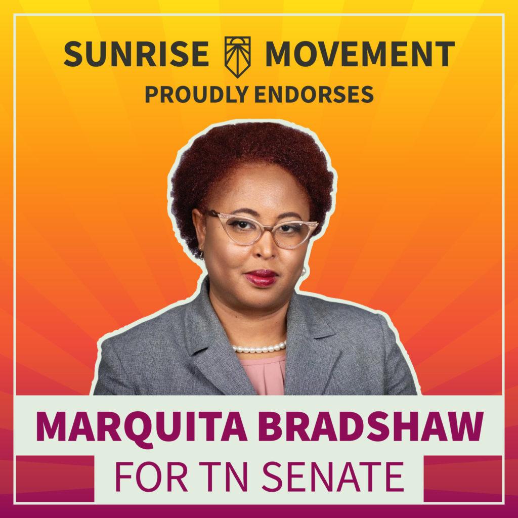 Una foto de Marquita Bradshaw con texto: Sunrise Movement respalda con orgullo a Marquita Bradshaw para el Senado de TN.