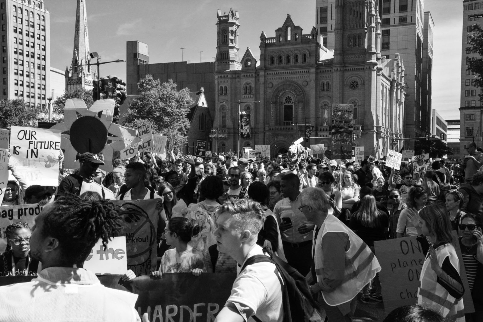 A black and white photo of the September 2019 Climate Strike in Philadelphia.