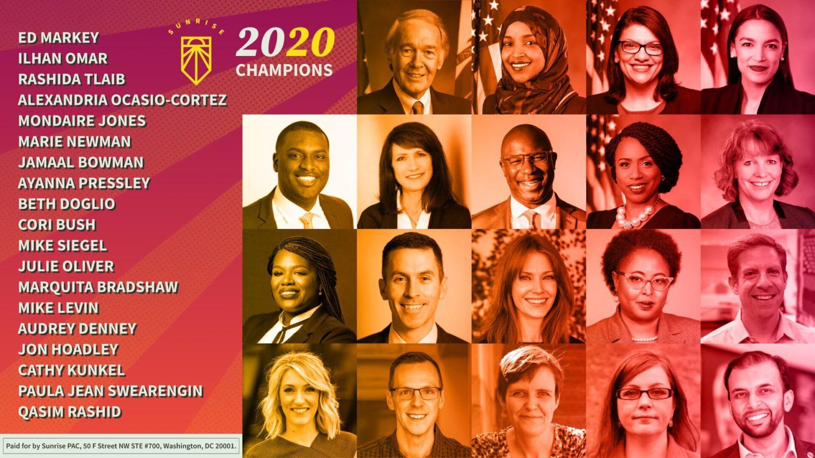 Un collage de fotos de los respaldos de las elecciones generales del Movimiento Sunrise 2020