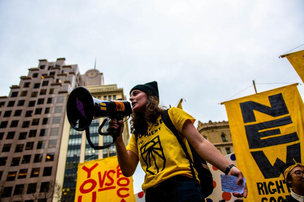 Sunrise Activist Speaking in Megaphone